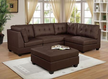 Pencoed Collection CM6957BR-SECT Sectional with Modular Design  Box Cushion Seats and Tapered Block Legs in