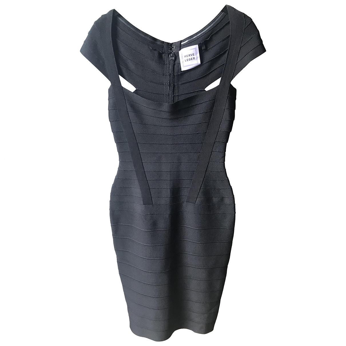 Herve Leger \N Kleid in  Schwarz Viskose