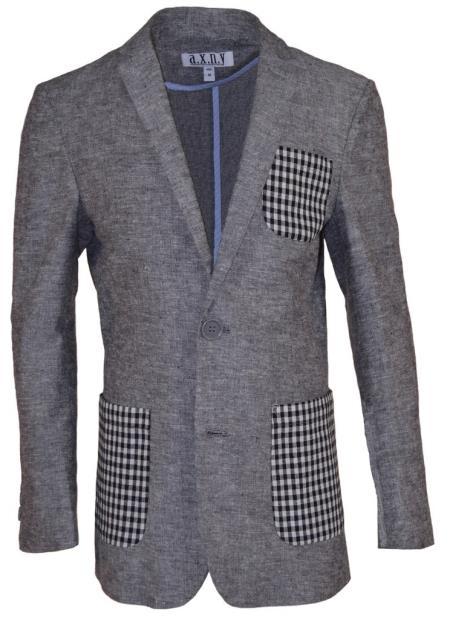 Boys 2 Button Single Breasted Gray Linen Blazer
