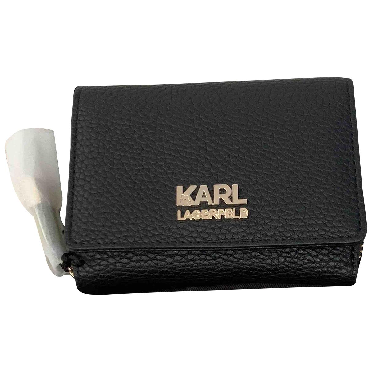 Karl Lagerfeld - Portefeuille   pour femme en cuir - noir