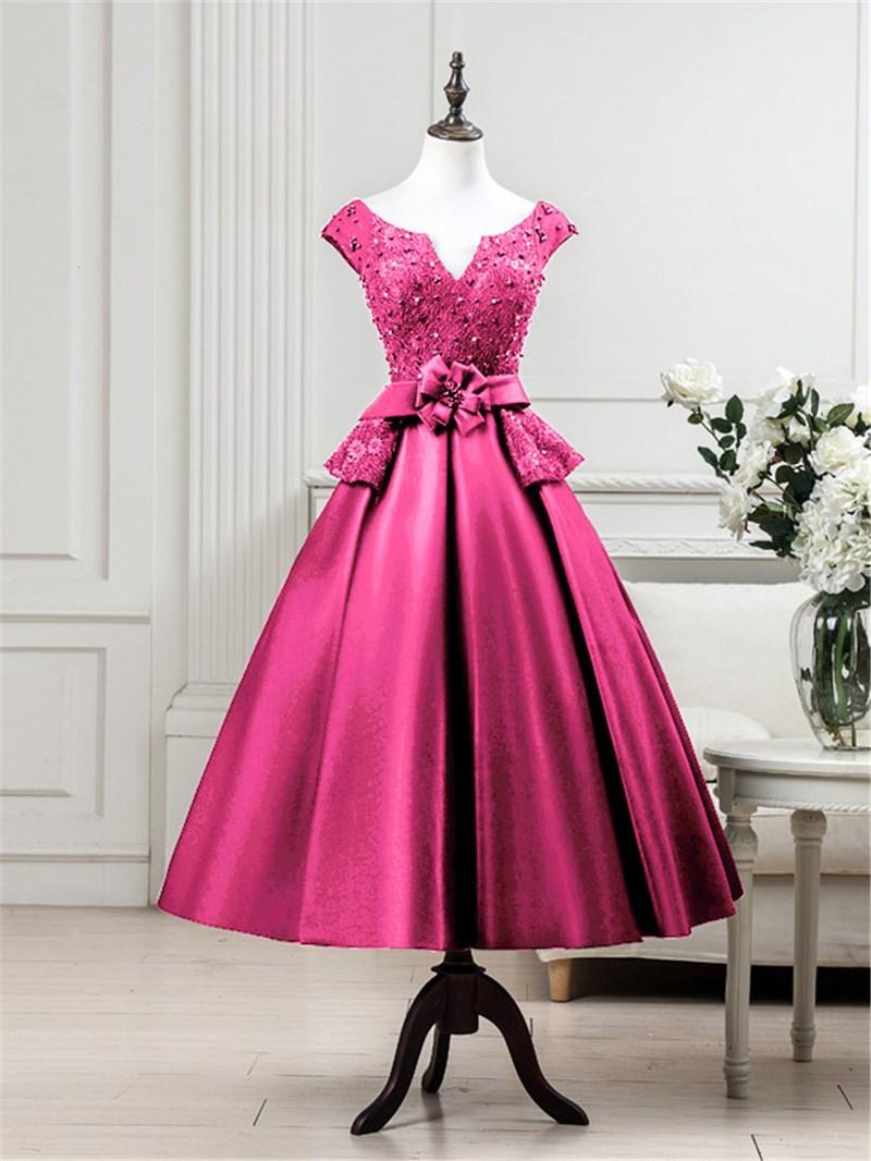 Ericdress Cap Sleeves Beading Lace Tea-Length Evening Dress