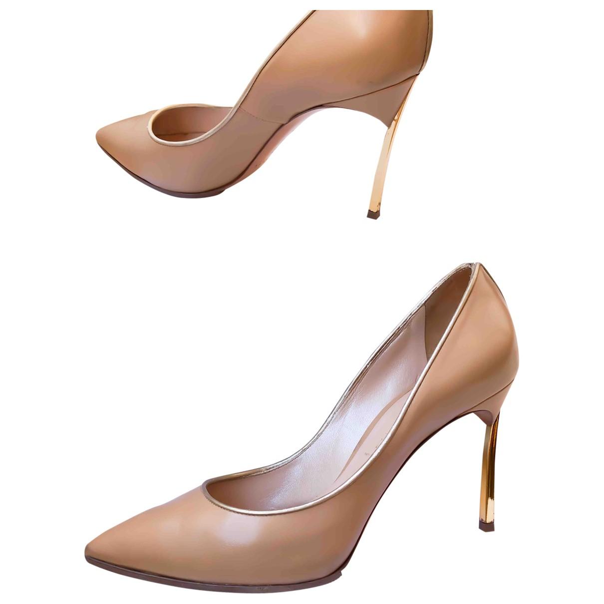 Casadei \N Beige Leather Heels for Women 37.5 IT