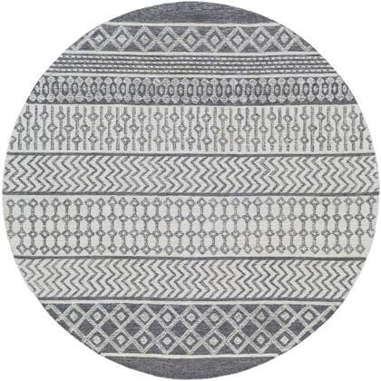 Maroc MAR-2305 6' Round Global Rug in Charcoal  Teal  Medium Gray  Cream