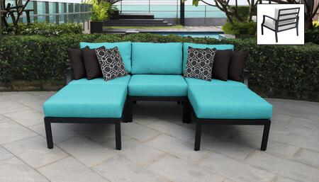 Lexington Collection LEXINGTON-05e-ARUBA 5-Piece Aluminum Patio Set 05e with 1 Left Arm Chair   1 Right Arm Chair   1 Armless Chair   2 Ottoman - Ash