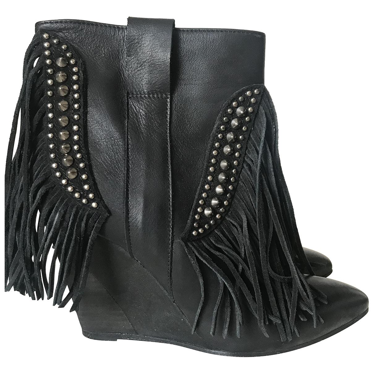 Garrice - Boots   pour femme en cuir - noir