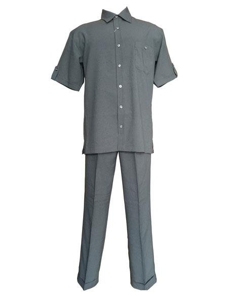 Mens Grey Check Pattern Short Sleeve Shirt and Pant Leisure Set