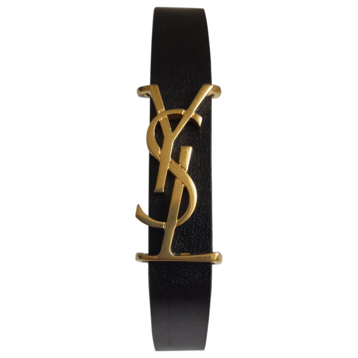 Saint Laurent - Bracelet Monogramme pour femme en cuir - noir
