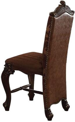 Versailles Collection 61157 Set of 2 Counter Height Chairs  Armless Chair  Nailhead Trim  Wooden Scrolled Crown  Inside Floral Fabric  Outside