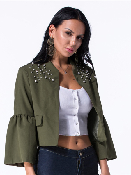 Yoins Army Green Open  Front Pearl Decor Design Coat
