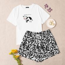 Plus Cow and Letter Graphic Top & Allover Print Shorts PJ Set