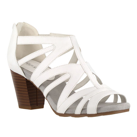 Easy Street Womens Amaze Heeled Sandals, 9 Wide, White