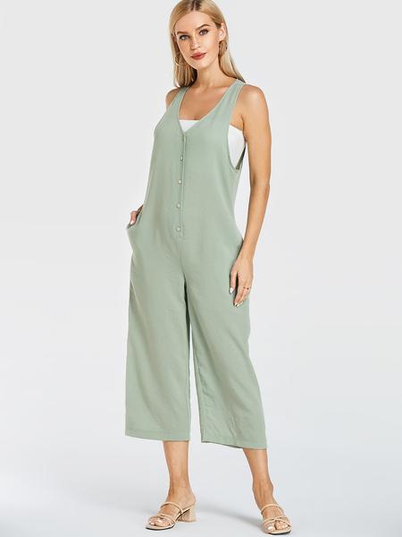 YOINS Mint Green V-neck Front Button Wide Leg Jumpsuit