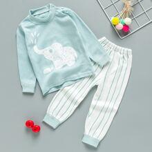 Toddler Boys Cartoon Graphic Top & Striped Pants PJ Set