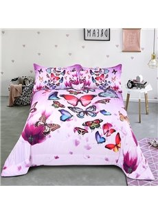Several Beautiful Butterflies Dancing On The Flowers Printed 3-Piece Comforter Sets