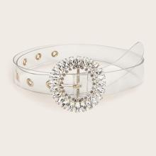 Cinturon con hebilla redonda con diseño de diamante de imitacion