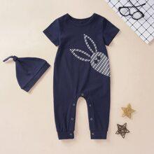 Baby Jungen T-Shirt mit Karikatur Muster, rundem Kragen & Hut