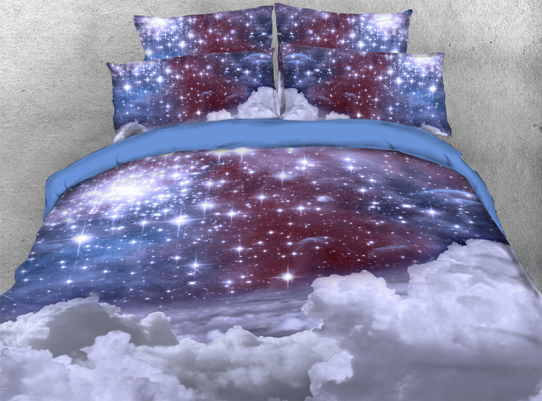 Starry Blue Cloud 3D 4pcs Durable Galaxy Bedding Sets No-fading Soft Reactive Printing Zipper Duvet Cover with Ties