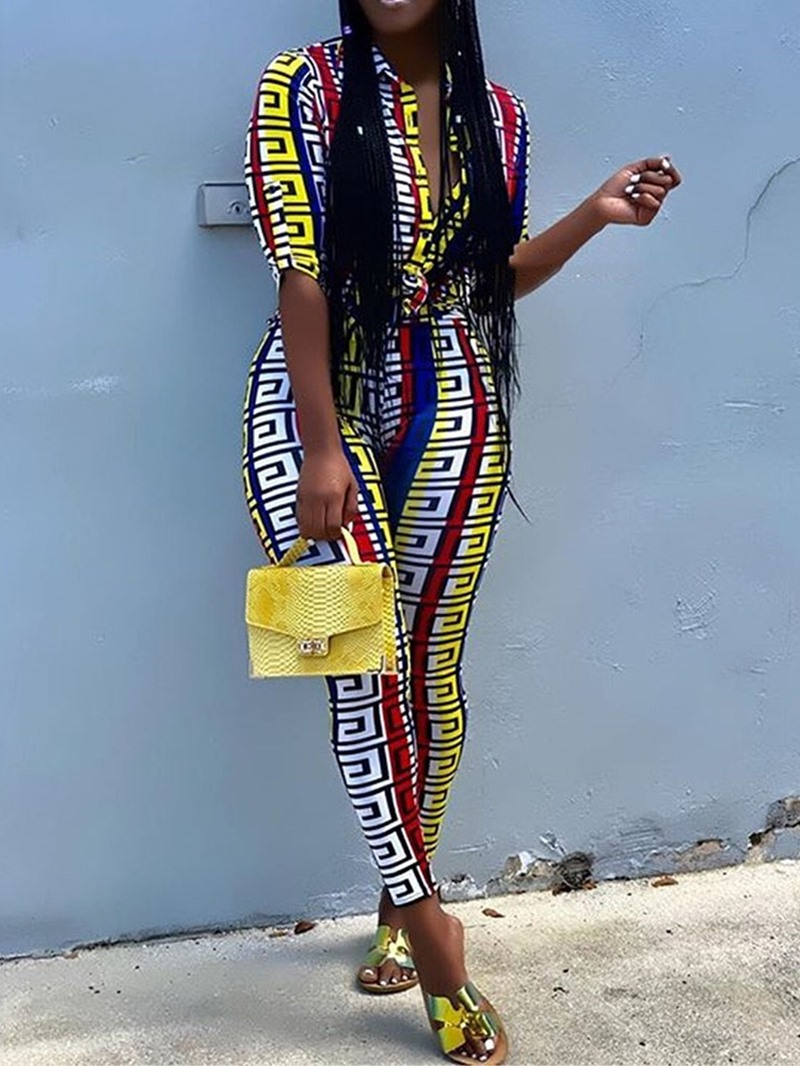 Ericdress Color Block Print Skinny Sexy Jumpsuit