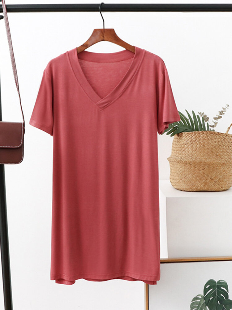 Solid Color V-neck Short Sleeve T-shirt