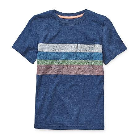 Arizona Little & Big Boys Crew Neck Short Sleeve T-Shirt, Large (14-16) , Gray