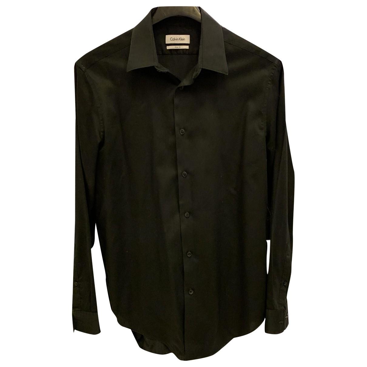 Calvin Klein - Chemises   pour homme en coton - noir
