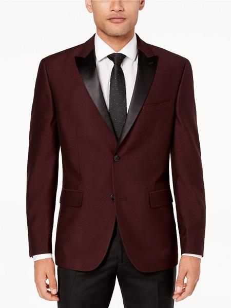 Mens Slim Fit Burgundy ~ Maroon Tuxedo
