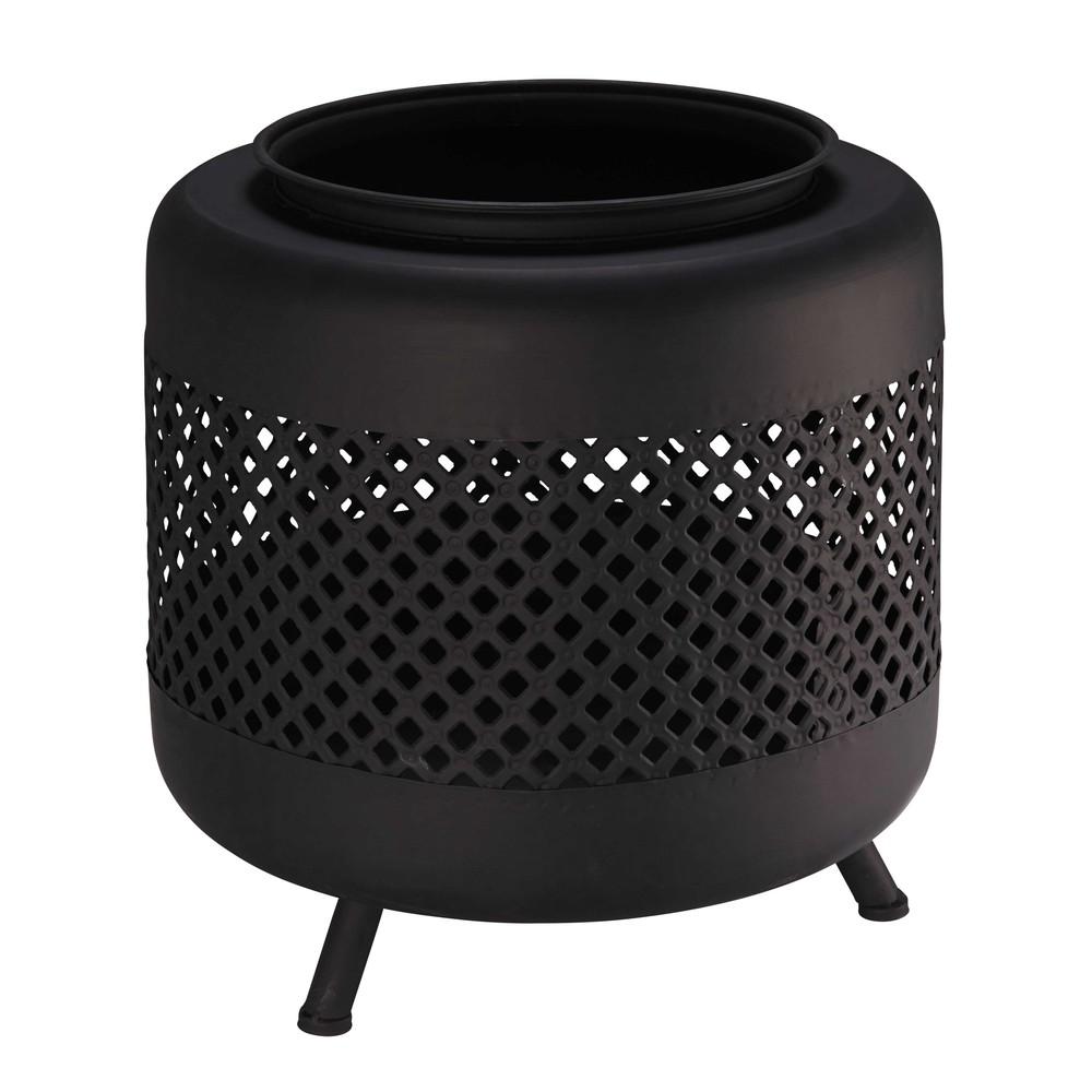 Outdoor-Feuerstelle aus schwarzem Metall mit Lochmuster