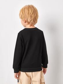 Toddler Boys 3D Dinosaur Print Round Neck Sweatshirt