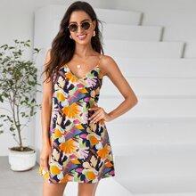 Allover Floral Backless Cami Dress