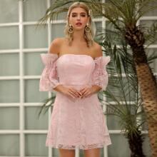 D&M Flounce Sleeve Embroidery Mesh Dress