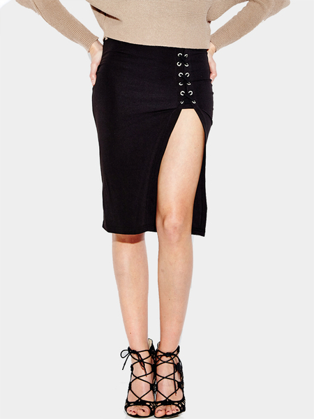 Yoins Black Split High-waisted Midi Skirt