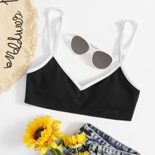 Contrast Binding Rib Bikini Top