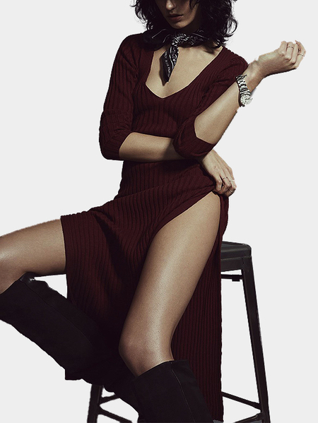 Yoins Burgundy Plunge Double Side Split Casual Midi Dress