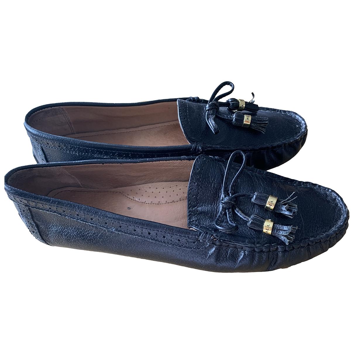 Lauren Ralph Lauren \N Black Leather Flats for Women 10 US