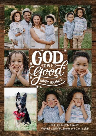 Christmas Photo Cards 5x7 Cards, Standard Cardstock 85lb, Card & Stationery -Christmas Snapshots God is Good by Tumbalina