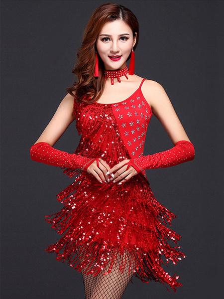 Milanoo Disfraz Halloween Baile latino rojo correas flecos leche seda vestido  Halloween
