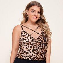 Cami Top mit Leopard Muster und Kreuzgurt vorn