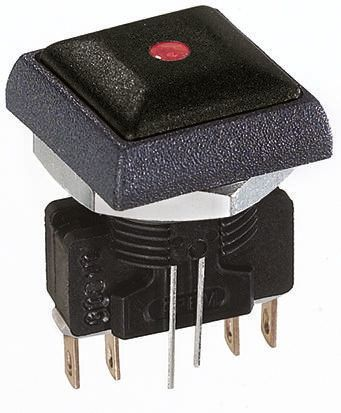 APEM Double Pole Double Throw (DPDT) Momentary Red LED Push Button Switch, IP67, 16 (Dia.)mm, Panel Mount, 250V ac