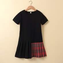 Girls Tartan Pleated Panel Babydoll Dress