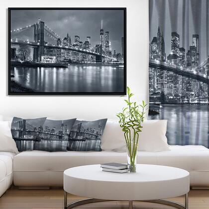 FL9959-62-30-FLB Panorama New York City At Night - Cityscape Framed Canvas Print -
