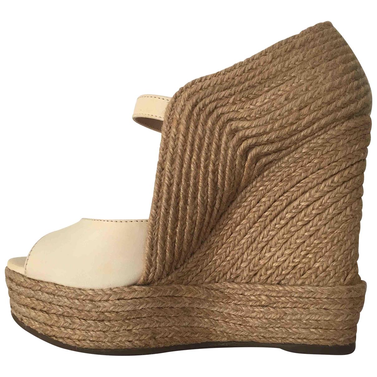 Schutz \N Beige Leather Sandals for Women 37 EU