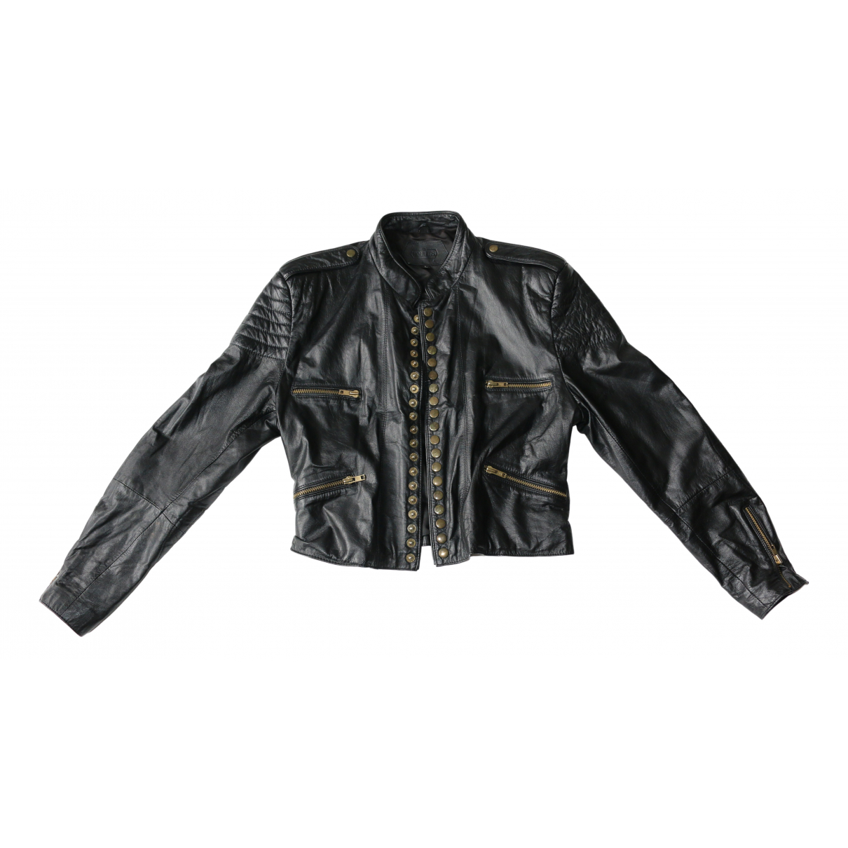 Non Signé / Unsigned \N Black Leather Leather jacket for Women L International