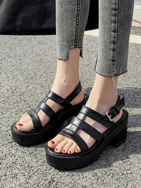 Milanoo Balck Wedge Sandals Gladiator Sandals Flatform Block Heels Sandals For Womens
