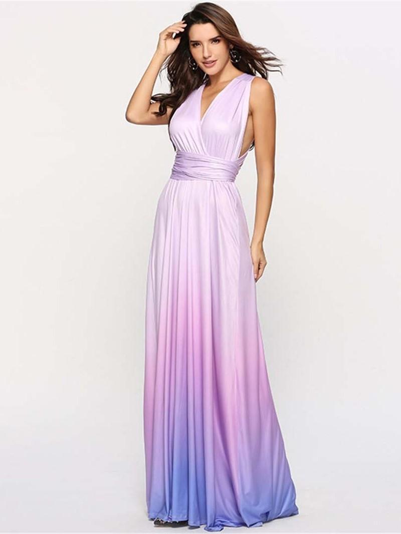 Ericdress Gradient Cocktail Sleeveless Floor-Length Expansion Maxi Dress