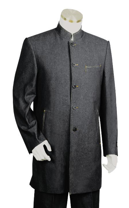 5 Button Suit Wide Leg Pants Wool Feel Black Tuxedo/Jacket Mens Cheap