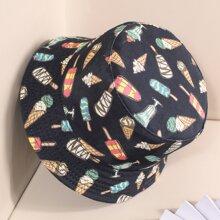 Ice Cream Pattern Reversible Bucket Hat