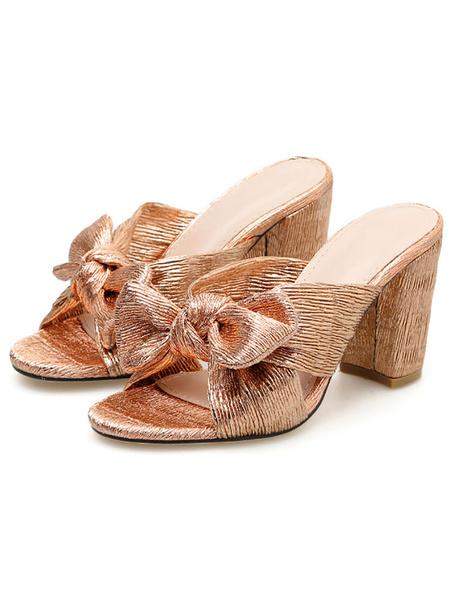 Milanoo Womens Bow Adorned Sandals Chic Block Heel Slides Summer Shoes