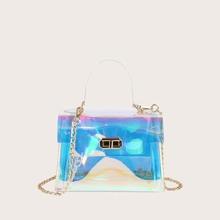 Twist Lock Holographic Satchel Bag
