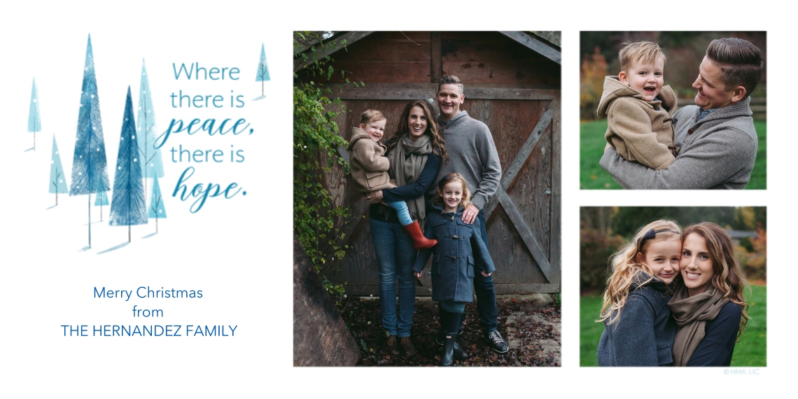 Christmas Photo Cards Flat Matte Photo Paper Cards with Envelopes, 4x8, Card & Stationery -Peace & Hope Modern Christmas Trees Photo Collage by Hallma