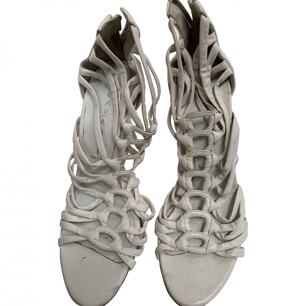 Casadei \N White Leather Sandals for Women 37 EU
